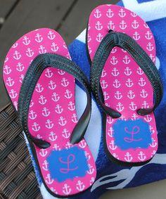 Another great find on #zulily! Initial Pink Achor Flip Flops - Kids #zulilyfinds