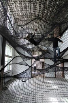 Net Z33! This would be just as fun as having a slide or swing inside. Really cool if it had a trapeze swing bar.: