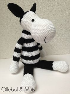 Handcrochet donkey in black and white. SOLD