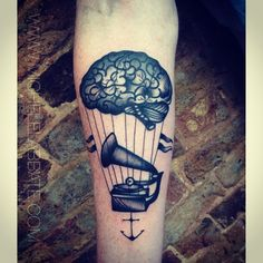 """Brain balloon #blackworkers #blacktattoos #traditionaltattoos #london #tattoos"""