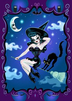 Hex Kitten Witch by Miss Fluff- Art Print- 5x7  A fantastical art print on Archival glossy Crystal Fuji photo paper featuring a very cute pin up