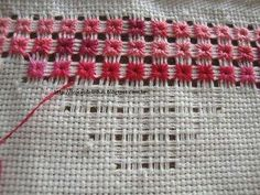 Interesting idea - removing parts of the grid Hardanger Embroidery, Ribbon Embroidery, Cross Stitch Embroidery, Embroidery Patterns, Needlepoint Stitches, Needlework, Swedish Weaving, Drawn Thread, Embroidery Techniques