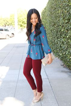 7fdf289a5681 Office Holiday Party Outfit: teal printed blouse + maroon pants + gold  heels Casual Holiday