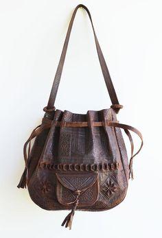 Tooled Leather Handbag Tote Boho Southwestern Dark Chocolate Bucket Bag Sling Cross Body