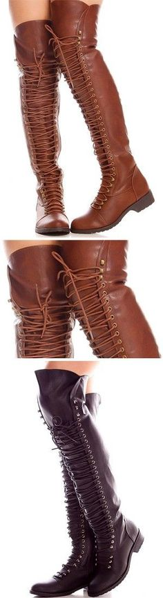 These knee high boots feature a faux leather material, laces, side zipper, length measures about 23 inches from sole to top. Great for that casual look. Heeled Boots, Bootie Boots, Shoe Boots, Ugg Boots, Cute Shoes, Me Too Shoes, Love Fashion, Fashion Shoes, Mode Outfits