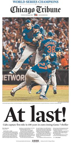 This is a lot like that front page we have on display in the back of the room. I love the huge picture. It dominates the page and it's a fantastic photo to use. I also like the big headline. It fits with the picture and topic, considering the emotion behind that win.