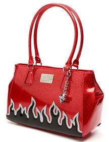 Lux De Ville Elvira Darling Diabla Tote Bag Red Sparkle/Black Flame Psychobilly