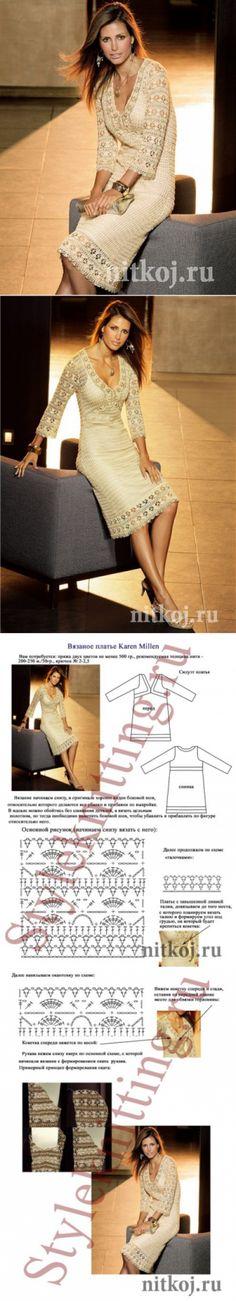 かぎ針編みのドレスKaren Millen»あなたの家のためのスレッド編みのもの、かぎ針編み、編みパターン