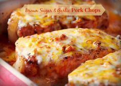 Cheesy Brown Sugar and Garlic Pork Chops! (I replaced the Jack cheese with Gorgonzola for a more sophisticated taste.)