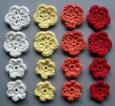 Häkelblumen, 4 Farben | Baumwolle, creme, gelb, orange, rot, 16 Stück