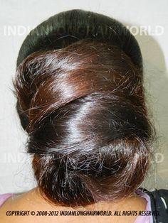 Long Hair Model of the Month December Santu with her long, healthy & thick knee length hair in huge bun Beautiful Long Hair, Gorgeous Hair, Beautiful Braids, Amazing Hair, Geisha, Long Indian Hair, Super Long Hair, Big Hair, Long Hair Models