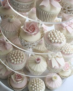 Beautiful individual #pink #cupcakes // by Cotton & Crumbs.