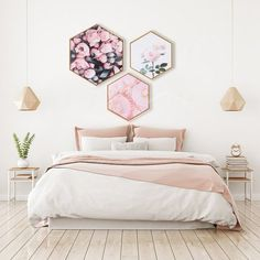 Flower Wall Decor Wall Art HD Flower Prints on Premium Canvas With Frame Bedroom Wall Art Above Bed, White Wall Bedroom, Bedroom Decor, Bedroom Ideas, Bedroom Simple, Bedroom Designs, Bedroom Inspiration, Modern Bedroom, White Walls