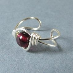 Sterling Silver Ear Cuff Garnet Gemstone by WireYourWorld on Etsy