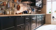 Cuisine Ikea Noire Four Noir Cuisine Noire Decor Ideas One Wall Kitchen, Kitchen Layout, New Kitchen, Kitchen Decor, Kitchen Ideas, Brown Kitchens, Home Kitchens, Kitchen Appliance Storage, Kitchen Appliances