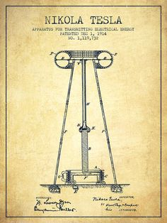 Nikola Tesla Energy Apparatus Patent Drawing From 1914 - Vintage Drawing