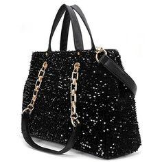 Kode: AF20027 BLACK Bahan: kulit PU + sequins Harga: 227 rb Ukuran : 26x37x12cm