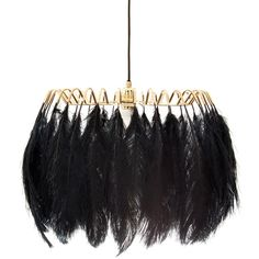 Mineheart Feather Pendant Lamp - Black ($1,185) ❤ liked on Polyvore featuring home, lighting, ceiling lights, black ceiling lights, onyx lamp, black pendant lighting, black ceiling lamp and black lamp