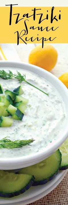 Super easy and delicious homemade Tzatziki Sauce Recipe. Great as a healthy dip, sauce for grilled meat, or spread for sandwiches. Thick, rich and creamy. Flavored with garlic, lemon and dill. Amazing!