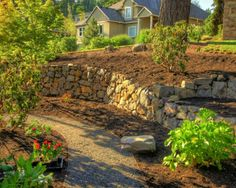 Hillside landscape, like the landing on the right with the concave retaining wall...