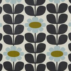Designed by the Orla Kiely studio, this charming PVC fabric features a retro inspired floral design and is crafted in a fresh duck egg blue colourway. This PVC . Vintage Pattern Design, Pattern Art, Vintage Patterns, Retro Design, Print Patterns, 60s Patterns, 2d Design, Pattern Designs, Tall Flowers