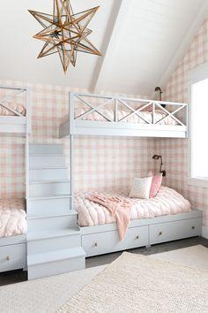 Pink gingham wallpaper in the bunkroom for the little girls. Wallpaper Bedroom, Home, Home Bedroom, Room Inspiration, Shared Girls Bedroom, Bedroom Decor, Bunk Room, Aesthetic Bedroom, Girls Bedroom Wallpaper