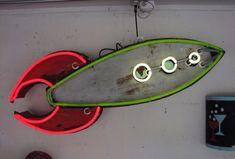 Neon space ship