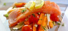 Gestoomde zalm en groenten uit de oven