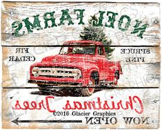 LARGE FORMAT Vintage Rustic Country Farmhouse Style Christmas Tree Farm Sign - DIY Digital Download Printable Collage Sheet Digital Download Printable DIY Tags Scrapbook Graphics Collage Sheet Clip Art Retro Images. Vintage Ford Truck Sign. Nothing will be mailed. This is an