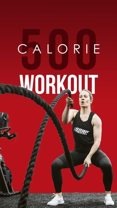 Are you trying to put in some MAJOR work at the gym this week? Give this intense workout a try! 500 Calorie Workout, Battle Rope Workout, Burn 500 Calories, Battle Ropes, Up For The Challenge, Take The Stairs, Kettlebell Swings, Indoor Cycling, Intense Workout