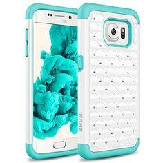 Galaxy S7 Edge Case, RANZ® Turquoise/ White Spot Diamond Studded Bling Crystal Rhinestone Dual Layer Hybrid Cover Silicone Rubber Skin Hard Case For Samsung Galaxy S7 Edge, http://www.amazon.com/dp/B01AJ1D24U/ref=cm_sw_r_pi_awdm_rO-3wbKKZBF00