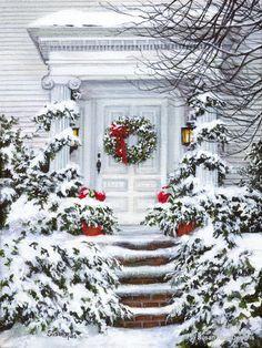 Snowy winter wonderland entryway. Snow. Poinsettias. Wreath.