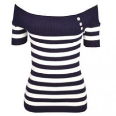 Navy Striped Sailor Shoulder Knitwear Top