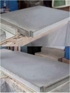 Don't like your countertops? Try one of these DIY countertops to transform yours on a tiny budget! These DIY countertop ideas include concrete, painting and more! Diy Concrete Countertops, Concrete Table, Concrete Furniture, Concrete Projects, Kitchen Countertops, Concrete Kitchen, Kid Furniture, Concrete Floors, Furniture Stores