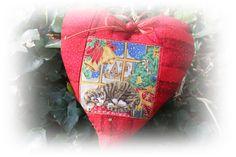 Geldgeschenk Katzen - Weihnacht  - Herz rot/gold  von Antjes Design auf DaWanda.com