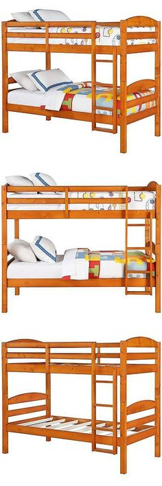 Kids Furniture: Wooden Kids Bunk Bed Bedroom Furniture Twin Over Twin Teens Girls Boys Loft Pine BUY IT NOW ONLY: $199.99