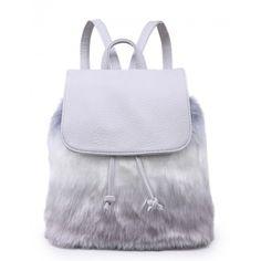 HOWL HUSKY GREY FAUX FUR BACKPACK ($32) ❤ liked on Polyvore featuring bags, backpacks, drawstring bag, mini rucksack, faux fur bag, draw string backpack and drawstring backpack bag