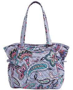 Charming drawstrings cinch the sides of a surprisingly spacious (and very cute) Vera Bradley Shoulder Bag in signature printed quilted cotton for a carefree feel. Vera Bradley Tote Bags, Vera Bradley Purses, Travel Handbags, Purses And Handbags, Purple Handbags, Fashion Handbags, Purse For Teens, Summer Purses, Unique Purses