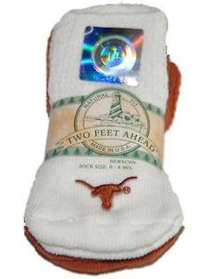 Texas Longhorns Two Feet Ahead Infant Baby Newborn 3 Pair Orange Socks Pack