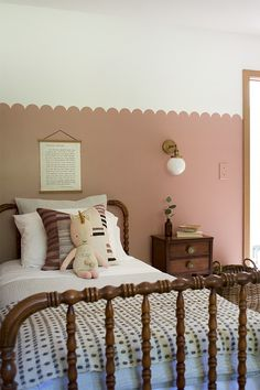 Come take a look at this adorable Girls Pink Room Makeover with a Scalloped wall and lots of vintage pieces and DIY Projects! Girls Room Paint, Room Paint Colors, Girls Bedroom, Ikea Girls Room, Girl Nursery, Nursery Ideas, Vintage Girls Rooms, Vintage Toddler Rooms, Vintage Beds