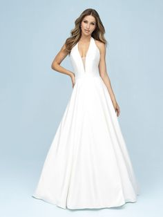 9617 Allure Bridals Wedding Dress, Book Your Fitting Now! A Classic A-Line Silhouette Is Topped With A Dramatic Halter Neckline For A Modern, Elegant Look. Popular Wedding Dresses, Bridal Wedding Dresses, Designer Wedding Dresses, Bridal Style, Bridesmaid Dresses, Wedding Dress Necklines, Necklines For Dresses, Wedding Dress Pictures, Dress Out