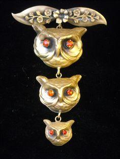 Joseff Hollywood Jewelled Three Owl Brooch with Ruby Eyes