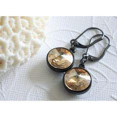 RivoliSwarovski Rivoli Earrings (£18) ❤ liked on Polyvore featuring jewelry, earrings, crystalglowdesign, vintage earrings, vintage jewellery, vintage jewelry and earring jewelry