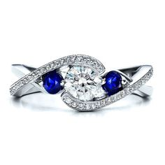 Round Diamond Twisted Engagement Ring blue sapphrie Side stones in 14K White Gold