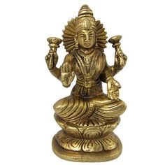 Hindu Goddess Lakshmi Statue in Brass for Prosperity and Wealth 4 Inches ShalinIndia http://www.amazon.in/dp/B002OUXJ4I/ref=cm_sw_r_pi_dp_w4waub09GWYAZ