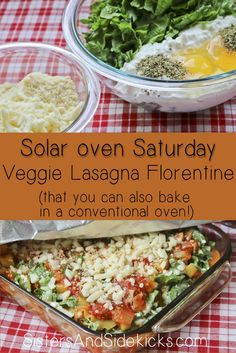 Solar Oven Saturday post #8 - We tried no-boil Lasagna Florentine in our solar oven today with great results.  You can also bake it inside in your conventional oven!