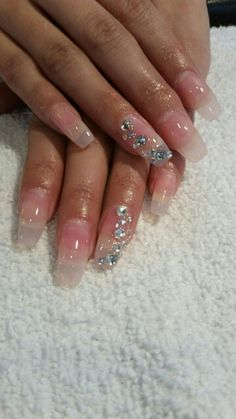 Clear Acrylic With Rhinestones Nail Designs Art
