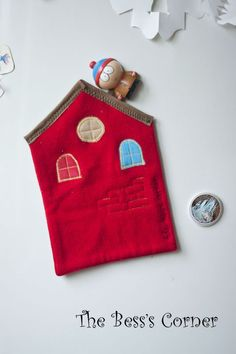 Funny house pot holder, red wool hot pad, wall hanging, quilted hot mat, kitchen decor, Size 7 inch/18 cm x 11 inch/28 cm. $12.00, via Etsy.