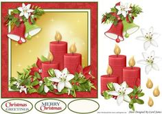 The Bells Are Ringing on Craftsuprint designed by Carol James - A simple 7 x 7 Christmas topper with decoupage pieces and 2 sentiment tags (plus a blank tag)Sentiments include:Christmas GreetingsMerry Christmas - Now available for download!