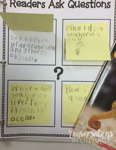 Questioning the Text Activity- Miniature Anchor Chart and Readers Ask Questions for Post It notes-FREEBIE kindergarten, first grade, second grade, third grade Reading Lessons, Reading Resources, Reading Strategies, Reading Skills, Guided Reading, Teaching Reading, Reading Centers, Reading Groups, Close Reading